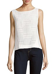 Lafayette 148 New York Woven Cotton Blend Sleeveless Top White