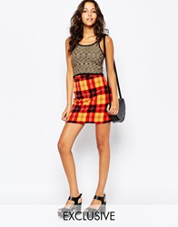 Reclaimed Vintage High Rise Mini Skirt In 90S Check Multi