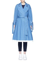 Xiao Li Frayed Denim Belted Trench Coat Blue