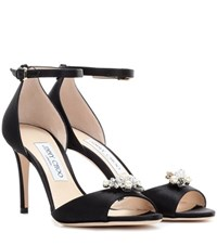 Jimmy Choo Tori 85 Satin Sandals With Crystal Embellished Clips Black