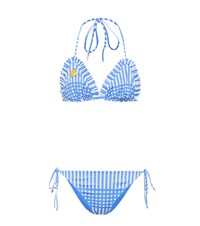 Ganni Exclusive To Mytheresa.Com Aroa Printed Bikini Blue