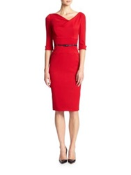 Black Halo Jackie Cowlneck Gabardine Sheath Red