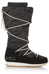 Adidas By Stella Mccartney Fleece Lined Faux Suede And Shell Ski Boots Black