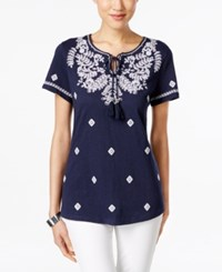 Charter Club Embroidered Short Sleeve Peasant Top Only At Macy's Intrepid Blue