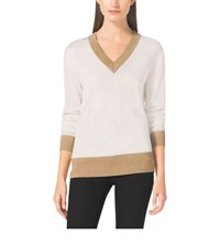 Michael Michael Kors Metallic Trim V Neck Sweater