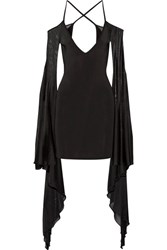 Balmain Open Back Ruffled Stretch Knit Mini Dress Black