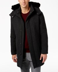 Alfani Men's Luxe Dressy Parka With Faux Fur Hood Only At Macy's Charcoal Heather