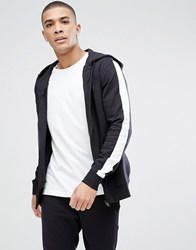 Only And Sons Zip Through Hoodie With Stripe Sleeve Black