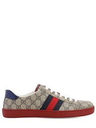 Gucci 25Mm Ace Gg Supreme Fabric Sneakers Beige