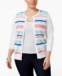 Charter Club Plus Size Striped Cardigan Only At Macy's Bright White Combo