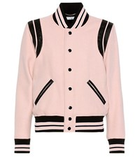 Saint Laurent Classic Teddy Wool Blend Varsity Jacket Pink