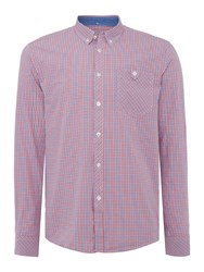Merc Mens Long Sleeved Micro Check Shirt Red Multi