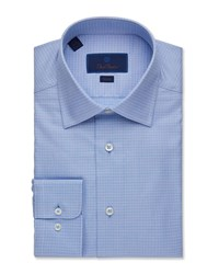 David Donahue Slim Fit Tonal Check Dress Shirt Blue