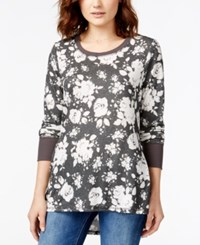 Eyeshadow Juniors' Printed Long Sleeve High Low Tunic Top