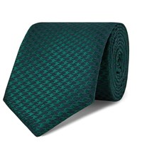 Charvet 7.5Cm Houndstooth Silk And Wool Blend Tie Green
