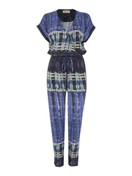 Label Lab Reflection Printed Jumpsuit Blue