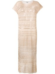 Faliero Sarti Lace Maxi Dress Women Polyester Rayon One Size Nude Neutrals