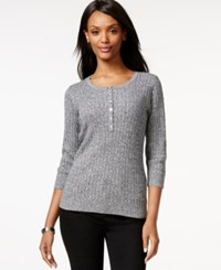 Karen Scott Three Quarter Sleeve Scoop Neck Top Only At Macy's Winter White