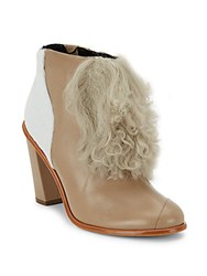 Tibi Naoni Shearling Calf Hair And Leather Ankle Boots Taupe