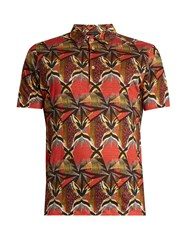 Etro Geometric Print Linen Polo Shirt Red Multi