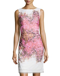 Kay Unger New York Floral Print Ruched Waist Cocktail Dress Pink Multi