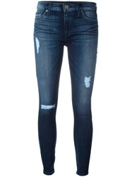 Hudson Distressed Skinny Jeans Blue