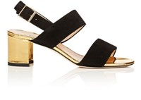 Manolo Blahnik Women's Khan Suede And Leather Sandals Black Gold Black Gold
