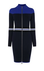 Karen Millen Sporty Stripe Knit Dress Blue Multi