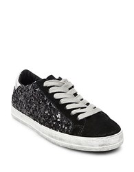 Steve Madden Florence Sequin Lace Up Sneakers Black