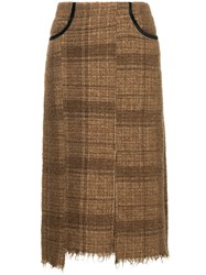 08Sircus Midi Tweed Skirt Brown