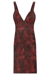 Kage Wine Floral Sl Short Dress