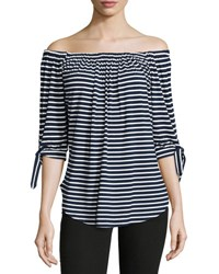 Neiman Marcus Off The Shoulder Striped Top Blue