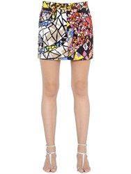 Emilio Pucci Printed Stretch Cotton Denim Mini Skirt