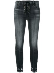 Unravel Project Lace Up Jeans Grey