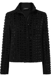 Akris Andorra Embellished Wool Blend Crepe Jacket Black