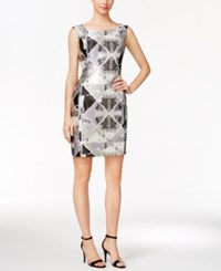 Calvin Klein Metallic Brocade Sheath Dress Tin Multi