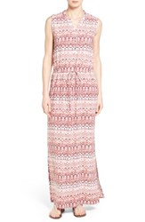 Caslon Women's Sleeveless Woven Maxi Dress Coral Stripe Print