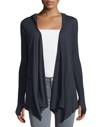Minnie Rose Cotton Hooded Open Front Duster Cardigan Navy