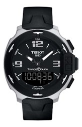 Tissot Men's T Race Touch Multifunction Rubber Strap Watch 42Mm Black Silver
