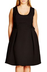 City Chic Plus Size Women's Corset Side Fit And Flare Dress Black