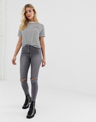 Parisian High Waisted Jeggings With Ripped Knee Grey