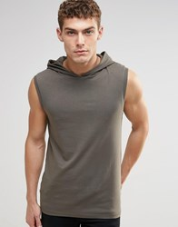 Asos Muscle Sleeveless T Shirt With Hood In Khaki Spinach