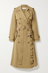 Michael Kors Collection Belted Ruffled Wool Gabardine Trench Coat Sand