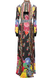 Just Cavalli Printed Jersey And Chiffon Gown Black
