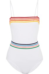 Emma Pake Sunrise Monica Mesh Trimmed Bandeau Swimsuit White