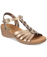 Bare Traps Honora Wedge Sandals Women's Shoes Bronze Metallic