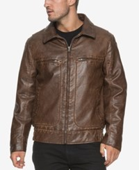 Marc New York Big And Tall Amherst Faux Leather Aviator Jacket Oak