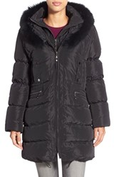 Women's Jessica Wilde Hooded Down Coat With Genuine Fox And Rabbit Fur Black