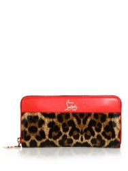 Christian Louboutin Panettone Leopard Print Zip Around Wallet Brown Red