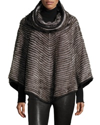 Gorski Layered Mink Fur Cowl Neck Poncho Gray